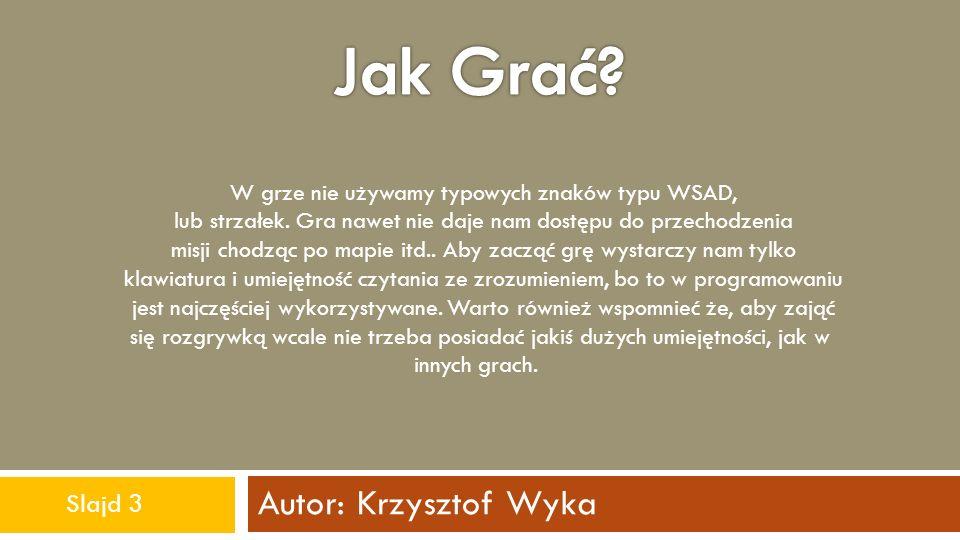Autor: Krzysztof Wyka W grze nie używamy typowych znaków typu WSAD, lub strzałek. Gra nawet nie daje nam dostępu do przechodzenia misji chodząc po map