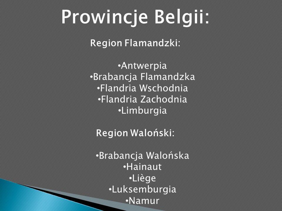 Prowincje Belgii: Region Flamandzki: Antwerpia Brabancja Flamandzka Flandria Wschodnia Flandria Zachodnia Limburgia Region Waloński: Brabancja Walońska Hainaut Liège Luksemburgia Namur