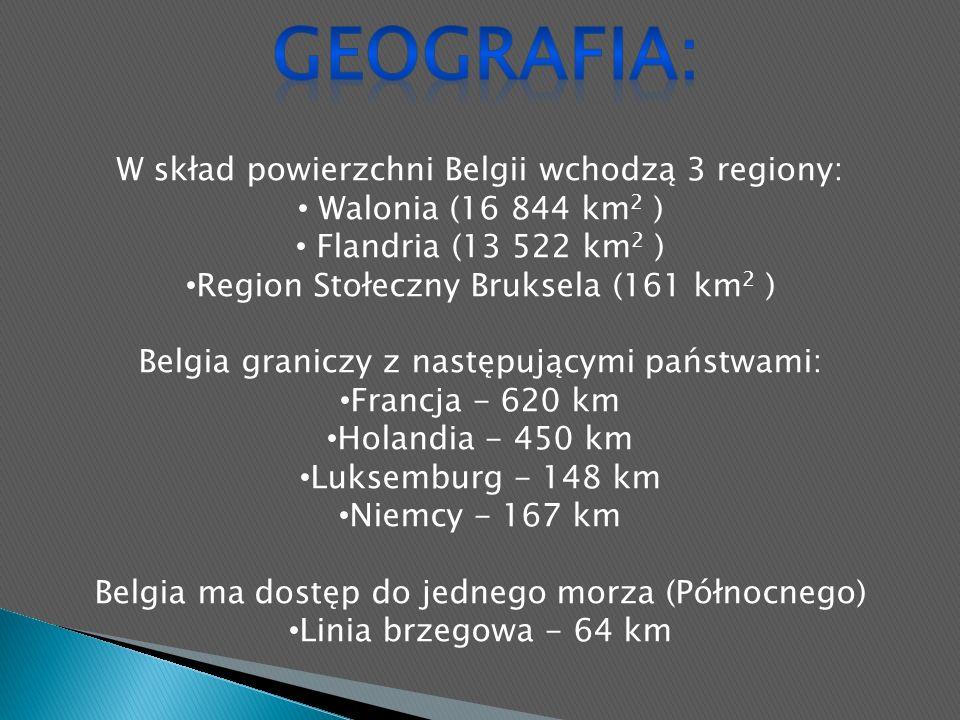W skład powierzchni Belgii wchodzą 3 regiony: Walonia (16 844 km 2 ) Flandria (13 522 km 2 ) Region Stołeczny Bruksela (161 km 2 ) Belgia graniczy z następującymi państwami: Francja - 620 km Holandia - 450 km Luksemburg - 148 km Niemcy - 167 km Belgia ma dostęp do jednego morza (Północnego) Linia brzegowa - 64 km