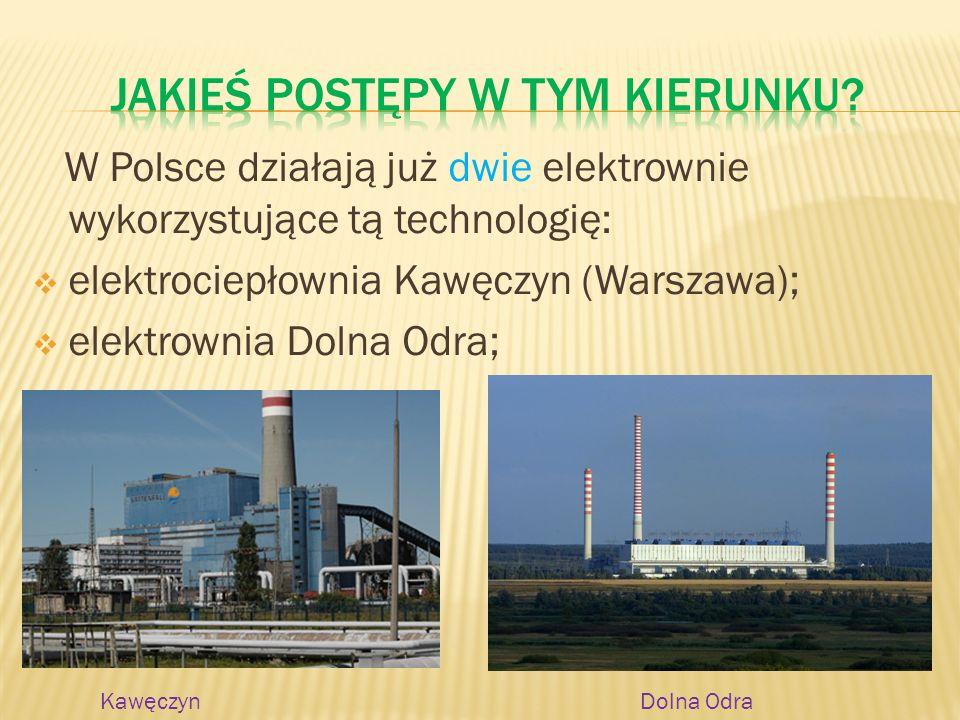 W Polsce działają już dwie elektrownie wykorzystujące tą technologię: elektrociepłownia Kawęczyn (Warszawa); elektrownia Dolna Odra; KawęczynDolna Odr