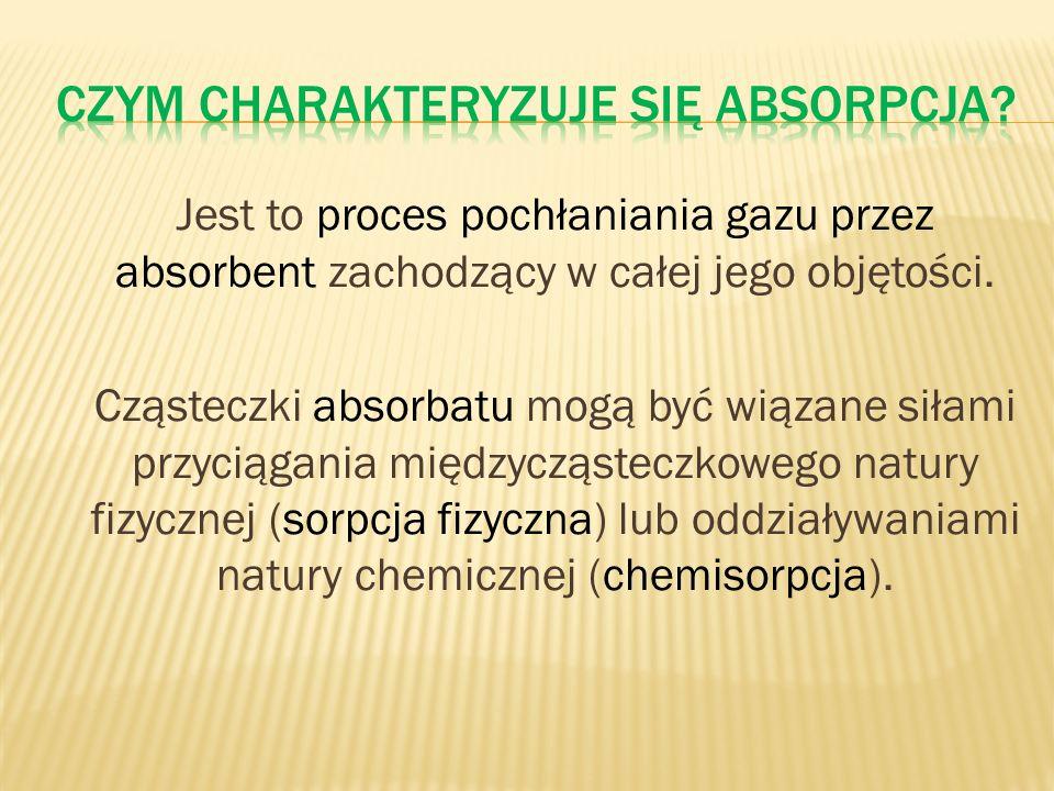 Jest to proces pochłaniania gazu przez absorbent zachodzący w całej jego objętości. Cząsteczki absorbatu mogą być wiązane siłami przyciągania międzycz