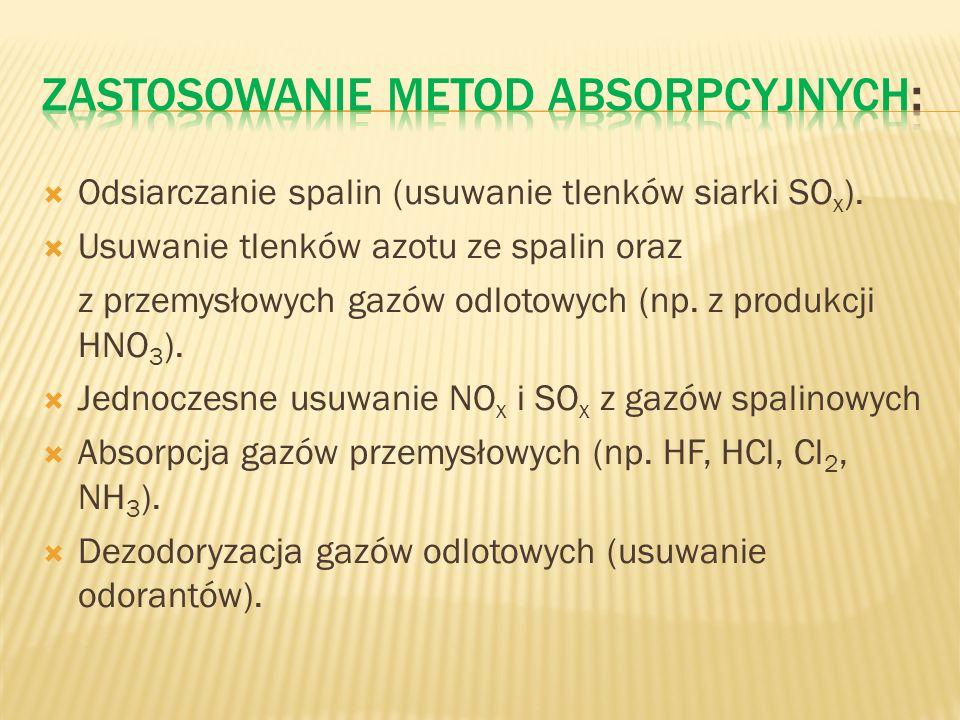 Odsiarczanie spalin (usuwanie tlenków siarki SO x ). Usuwanie tlenków azotu ze spalin oraz z przemysłowych gazów odlotowych (np. z produkcji HNO 3 ).