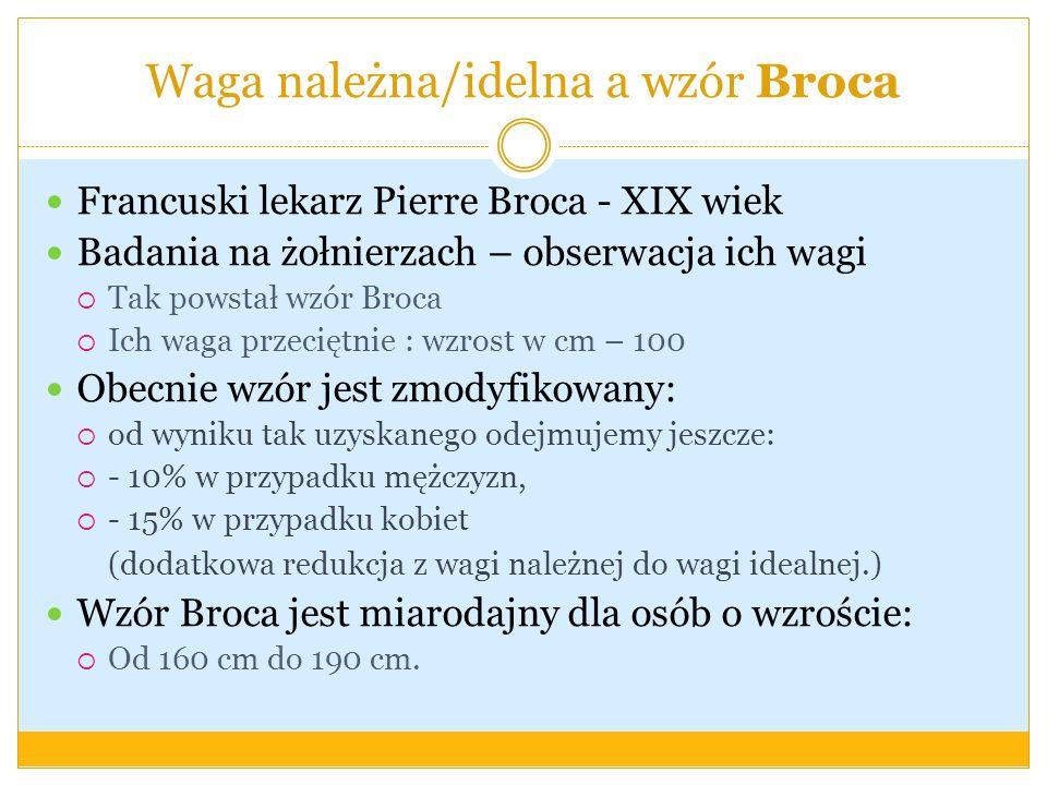 Wzór Broca Waga idealna (kg) = [wzrost (cm) - 100] * 0.85 Waga idealna (kg) = [wzrost (cm) - 100] * 0.9 Wskaźnik Broca-Bmngscha MC = H-100 przy wysokości ciała do 164 cm MC = H-105 przy wysokości ciała 165 - 175 cm MC = H-110 przy wysokości ciała powyżej 175 cm (np.
