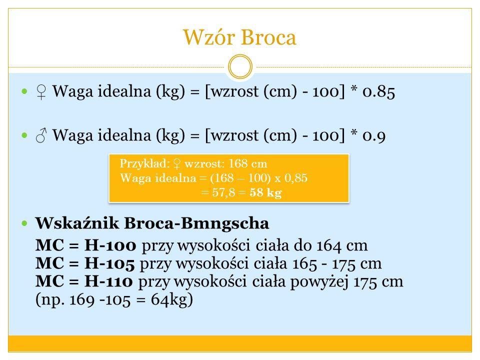 Wzór Broca Waga idealna (kg) = [wzrost (cm) - 100] * 0.85 Waga idealna (kg) = [wzrost (cm) - 100] * 0.9 Wskaźnik Broca-Bmngscha MC = H-100 przy wysoko