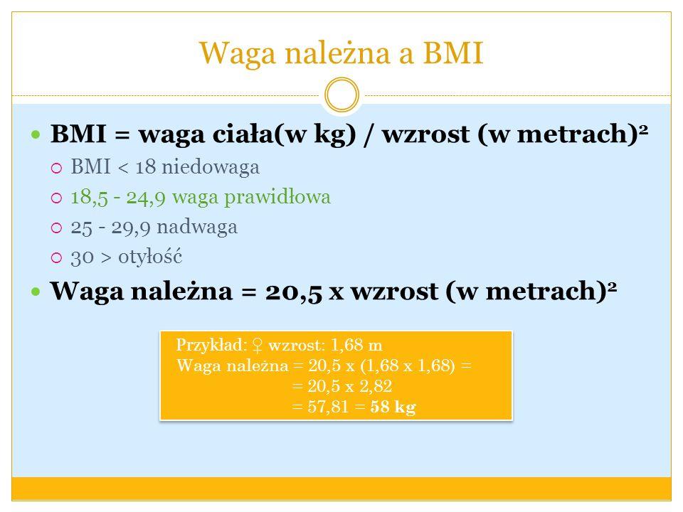 Waga należna a BMI BMI = waga ciała(w kg) / wzrost (w metrach) 2 BMI < 18 niedowaga 18,5 - 24,9 waga prawidłowa 25 - 29,9 nadwaga 30 > otyłość Waga na