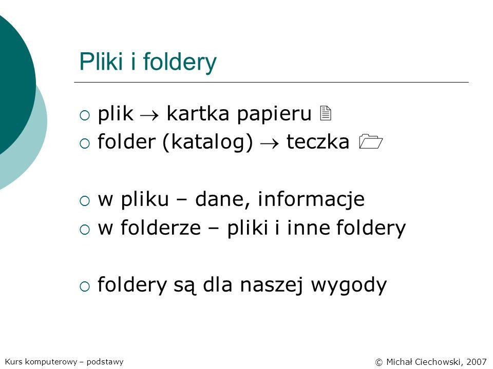 Pliki i foldery plik kartka papieru folder (katalog) teczka w pliku – dane, informacje w folderze – pliki i inne foldery foldery są dla naszej wygody