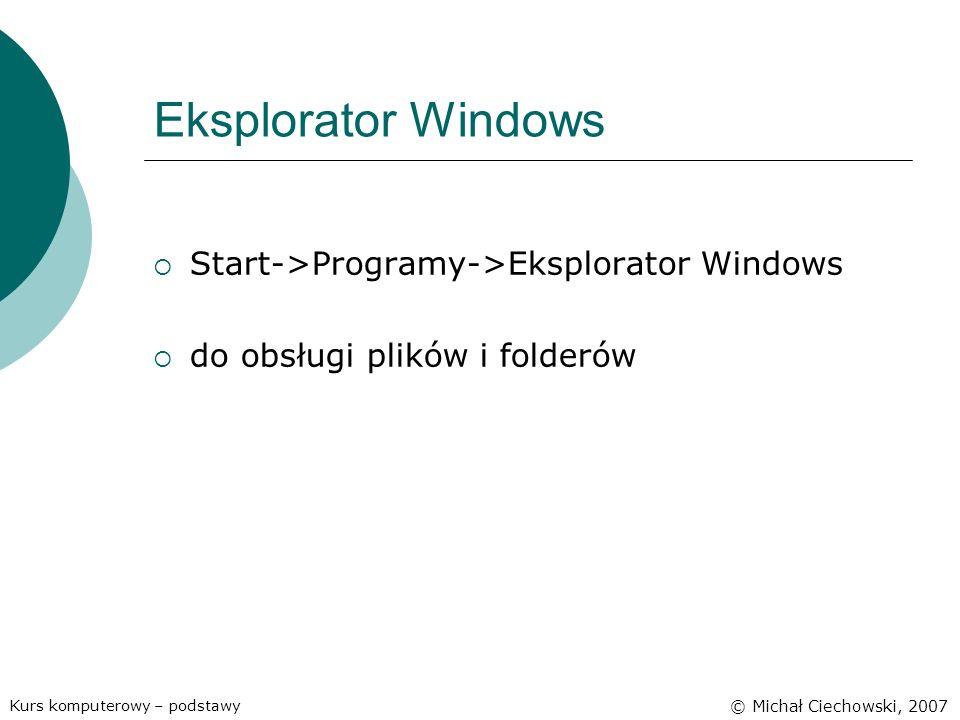 Eksplorator Windows Start->Programy->Eksplorator Windows do obsługi plików i folderów Kurs komputerowy – podstawy © Michał Ciechowski, 2007
