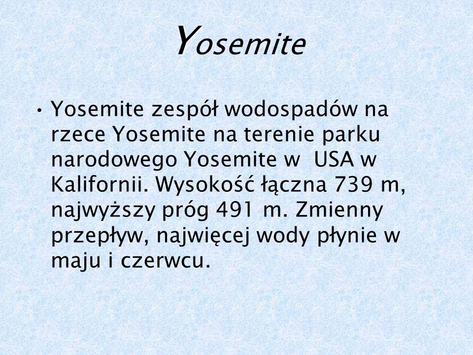 Y Y osemite Yosemite zespół wodospadów na rzece Yosemite na terenie parku narodowego Yosemite w USA w Kalifornii.