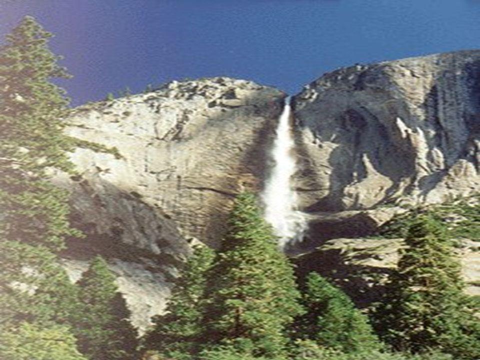 Y Y osemite Yosemite zespół wodospadów na rzece Yosemite na terenie parku narodowego Yosemite w USA w Kalifornii. Wysokość łączna 739 m, najwyższy pró