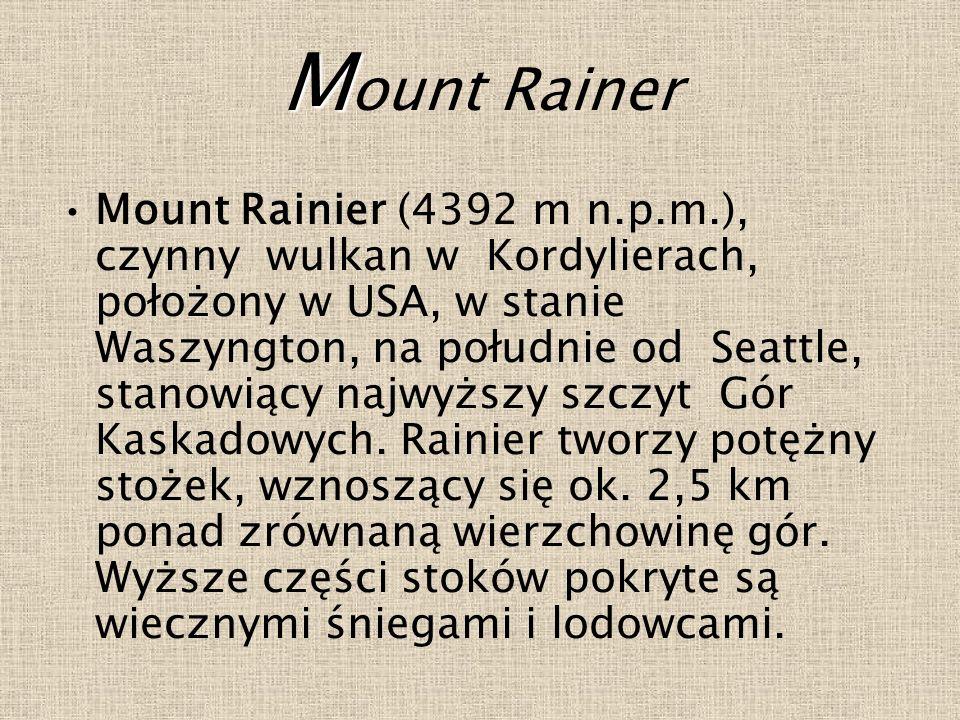 M M ount Rainer Mount Rainier (4392 m n.p.m.), czynny wulkan w Kordylierach, położony w USA, w stanie Waszyngton, na południe od Seattle, stanowiący najwyższy szczyt Gór Kaskadowych.