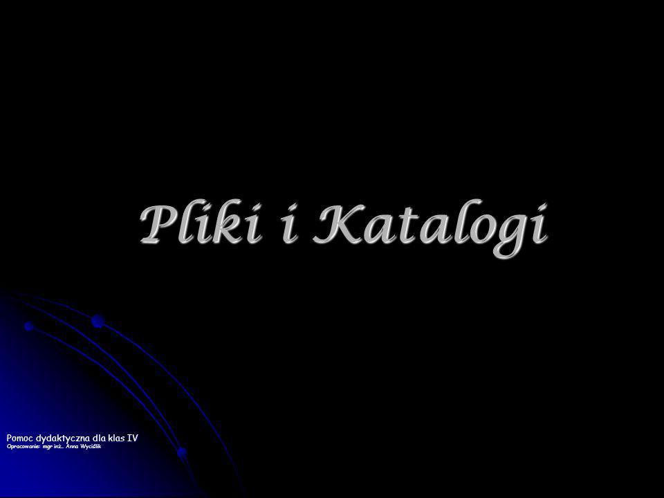 2 PODSTAWOWE POJĘCIĄ IKONA - znak graficzny z podpisem symbolizujący plik, katalog lub program IKONA - znak graficzny z podpisem symbolizujący plik, katalog lub program KATALOG (folder) – zawiera pliki oraz może też zawierać inne katalogi (podkatalogi), w których znajdują się pliki oraz kolejne podkatalogi KATALOG (folder) – zawiera pliki oraz może też zawierać inne katalogi (podkatalogi), w których znajdują się pliki oraz kolejne podkatalogi PLIK to zbiór danych, który posiada nazwę i jest przechowywany na dysku.