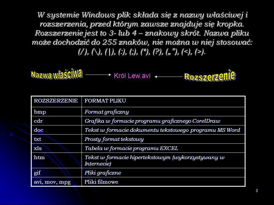 3 W systemie Windows plik składa się z nazwy właściwej i rozszerzenia, przed którym zawsze znajduje się kropka. Rozszerzenie jest to 3- lub 4 – znakow