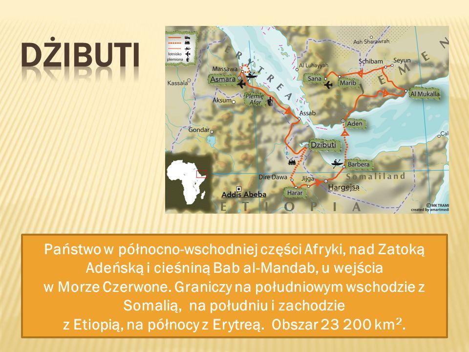 Państwo w północno-wschodniej części Afryki, nad Zatoką Adeńską i cieśniną Bab al-Mandab, u wejścia w Morze Czerwone. Graniczy na południowym wschodzi