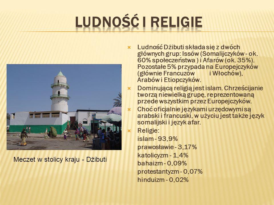 Ludność Dżibuti składa się z dwóch głównych grup: Issów (Somalijczyków - ok. 60% społeczeństwa ) i Afarów (ok. 35%). Pozostałe 5% przypada na Europejc