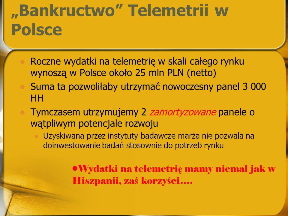 Bankructwo Telemetrii w Polsce Roczne wydatki na telemetrię w skali całego rynku wynoszą w Polsce około 25 mln PLN (netto) Suma ta pozwoliłaby utrzymać nowoczesny panel 3 000 HH Tymczasem utrzymujemy 2 zamortyzowane panele o wątpliwym potencjale rozwoju Uzyskiwana przez instytuty badawcze marża nie pozwala na doinwestowanie badań stosownie do potrzeb rynku Wydatki na telemetri ę mamy niemal jak w Hiszpanii, za ś korzy ś ci….