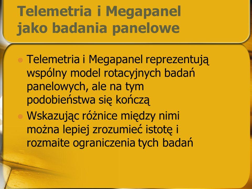Telemetria i Megapanel jako badania panelowe Telemetria i Megapanel reprezentują wspólny model rotacyjnych badań panelowych, ale na tym podobieństwa się kończą Wskazując różnice między nimi można lepiej zrozumieć istotę i rozmaite ograniczenia tych badań