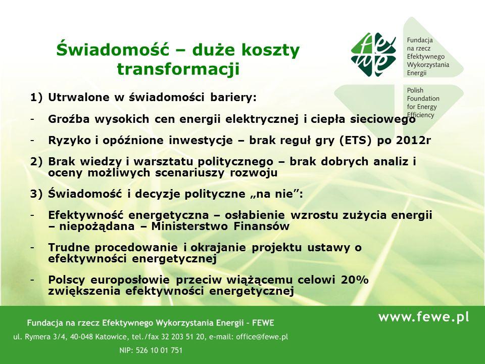 66 1)Utrwalone w świadomości bariery: -Groźba wysokich cen energii elektrycznej i ciepła sieciowego -Ryzyko i opóźnione inwestycje – brak reguł gry (E