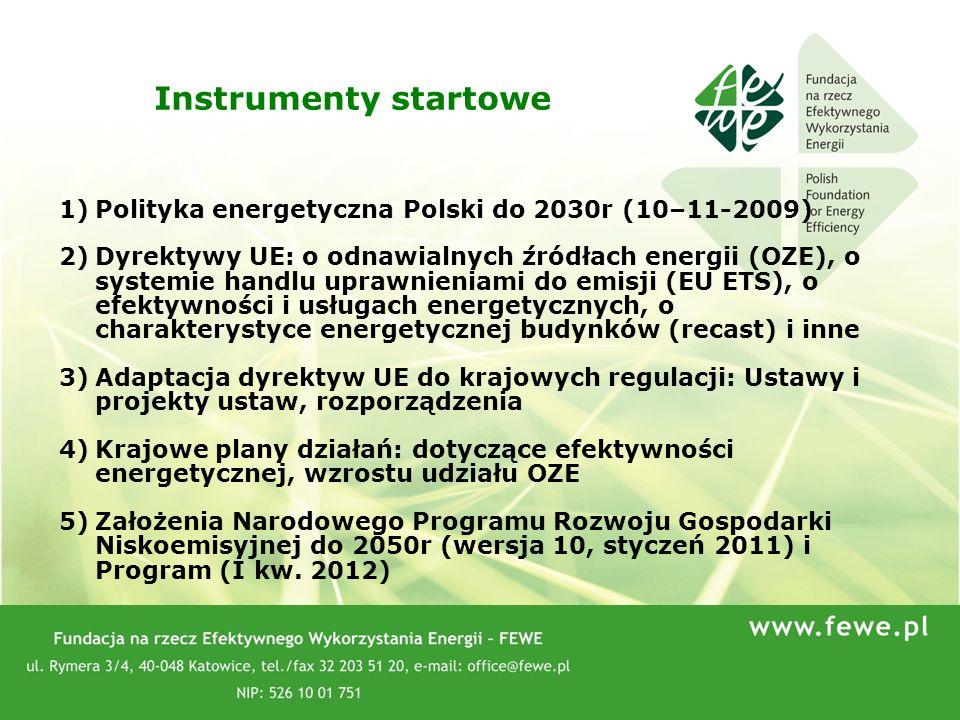 77 1)Polityka energetyczna Polski do 2030r (10–11-2009) 2)Dyrektywy UE: o odnawialnych źródłach energii (OZE), o systemie handlu uprawnieniami do emis