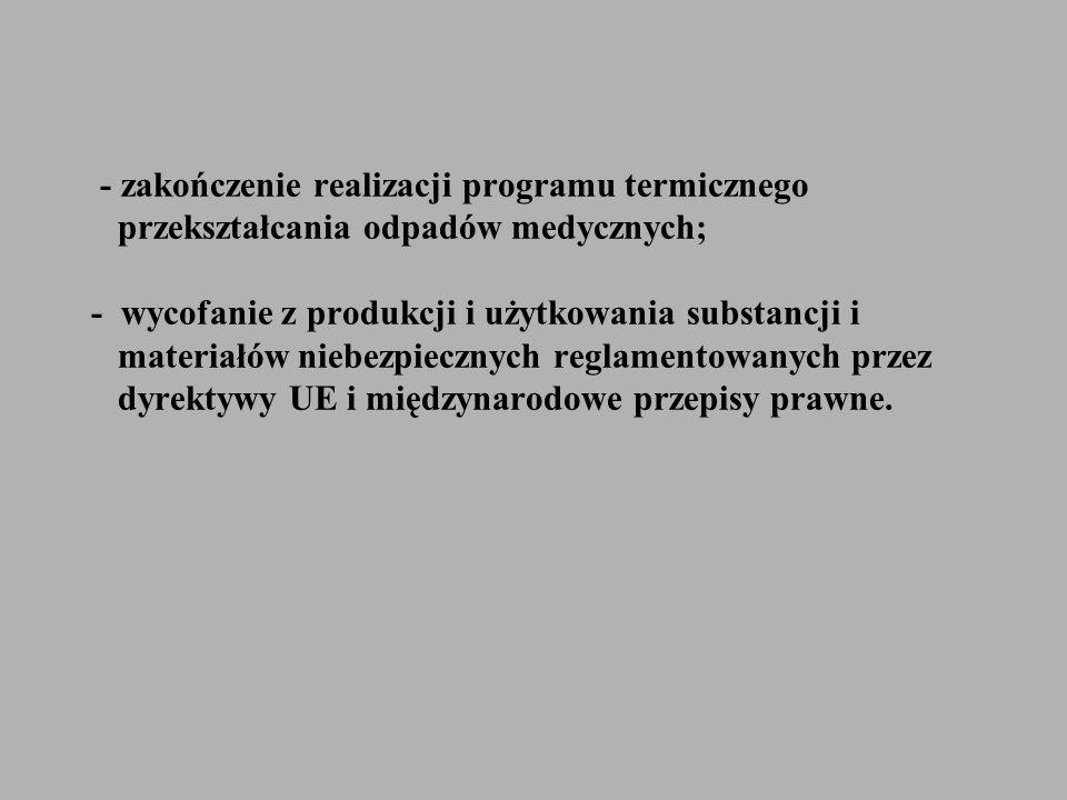- zakończenie realizacji programu termicznego przekształcania odpadów medycznych; - wycofanie z produkcji i użytkowania substancji i materiałów niebez