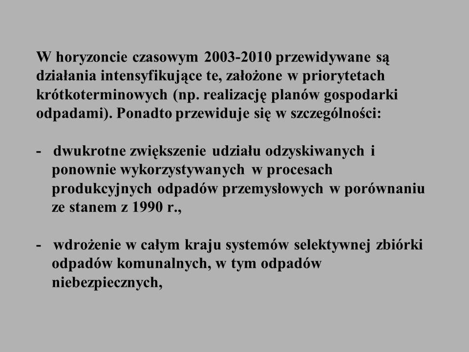 W horyzoncie czasowym 2003-2010 przewidywane są działania intensyfikujące te, założone w priorytetach krótkoterminowych (np. realizację planów gospoda