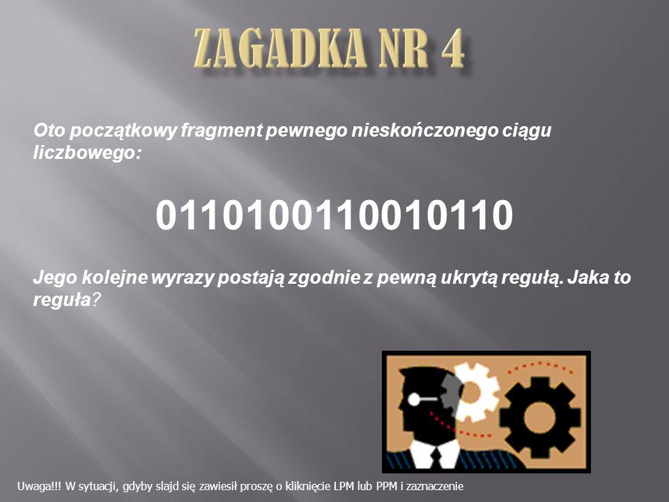 Oto początkowy fragment pewnego nieskończonego ciągu liczbowego: 0110100110010110 Jego kolejne wyrazy postają zgodnie z pewną ukrytą regułą.