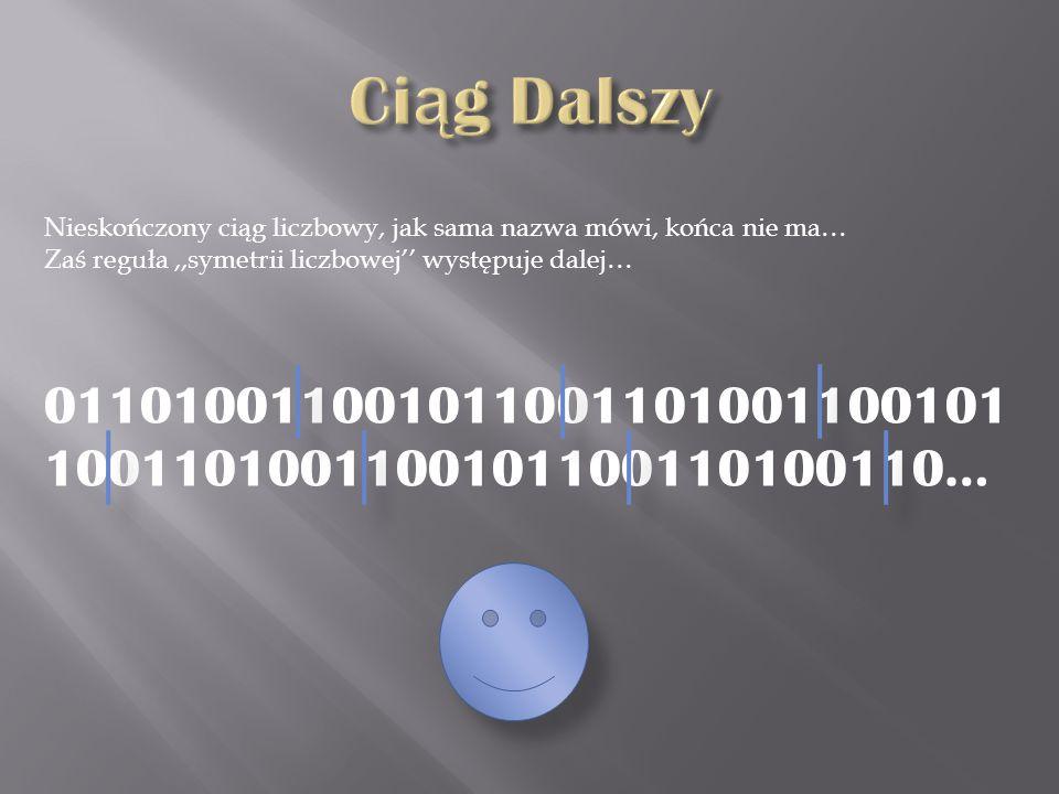 Nieskończony ciąg liczbowy, jak sama nazwa mówi, końca nie ma… Zaś reguła,,symetrii liczbowej występuje dalej… 011010011001011001101001100101 10011010