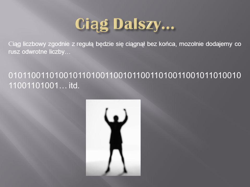 C iąg liczbowy zgodnie z regułą będzie się ciągnął bez końca, mozolnie dodajemy co rusz odwrotne liczby… 010110011010010110100110010110011010011001011010010 11001101001… itd.