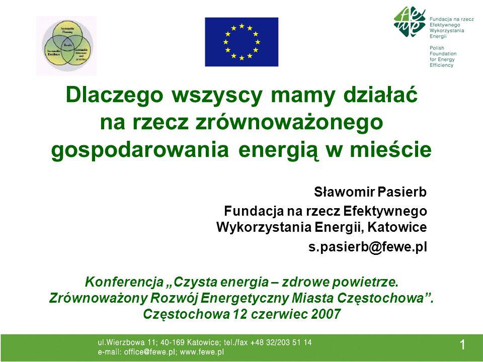 1 Konferencja Czysta energia – zdrowe powietrze. Zrównoważony Rozwój Energetyczny Miasta Częstochowa. Częstochowa 12 czerwiec 2007 Sławomir Pasierb Fu