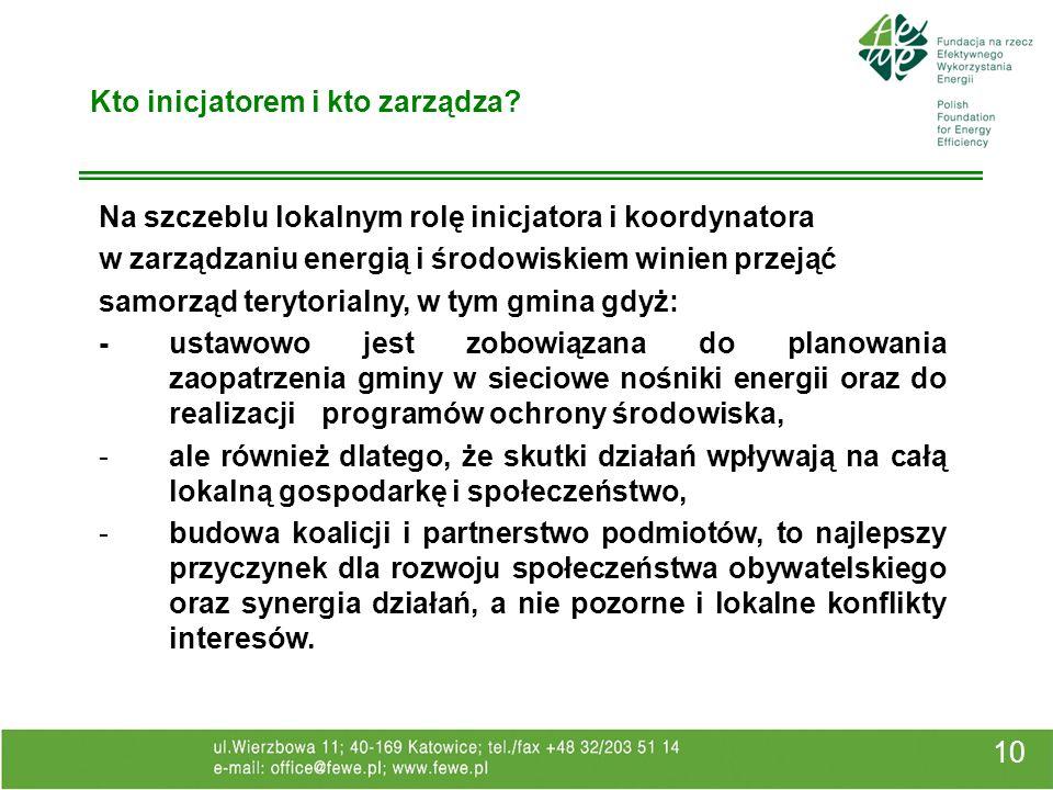 10 Kto inicjatorem i kto zarządza? Na szczeblu lokalnym rolę inicjatora i koordynatora w zarządzaniu energią i środowiskiem winien przejąć samorząd te