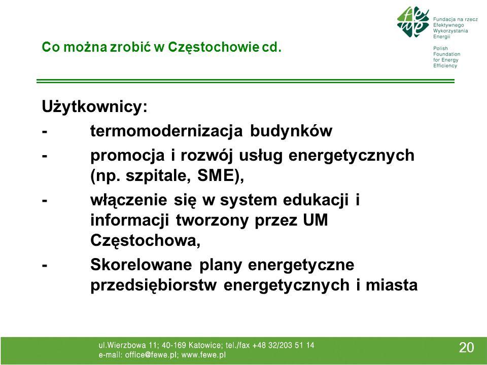 20 Co można zrobić w Częstochowie cd. Użytkownicy: -termomodernizacja budynków -promocja i rozwój usług energetycznych (np. szpitale, SME), -włączenie