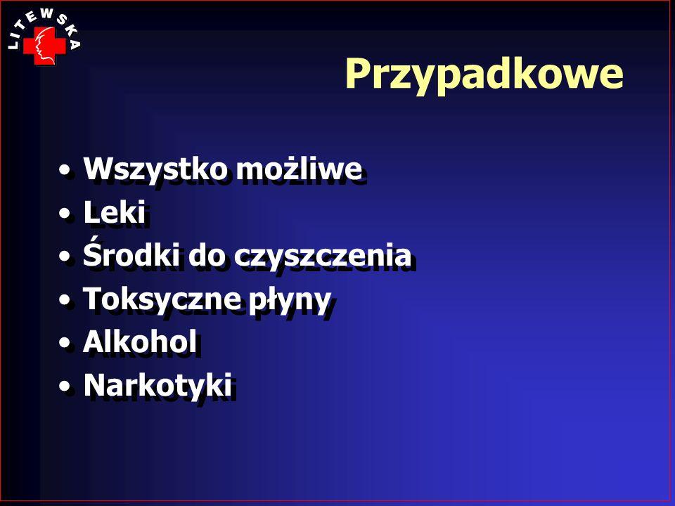 Przypadkowe Wszystko możliwe Leki Środki do czyszczenia Toksyczne płyny Alkohol Narkotyki Wszystko możliwe Leki Środki do czyszczenia Toksyczne płyny