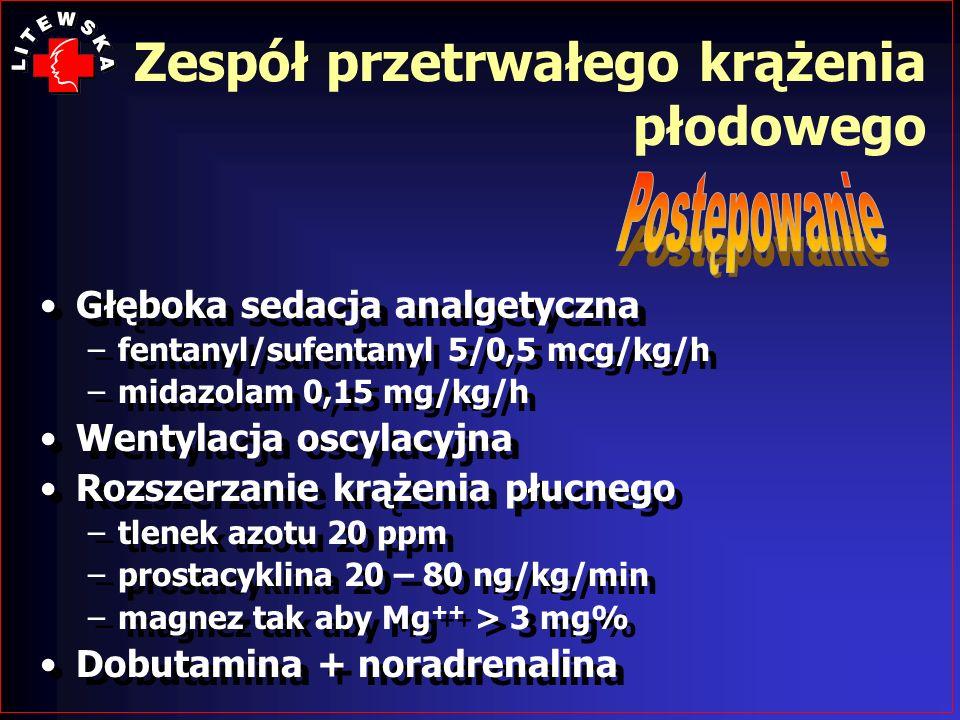 Głęboka sedacja analgetyczna –fentanyl/sufentanyl 5/0,5 mcg/kg/h –midazolam 0,15 mg/kg/h Wentylacja oscylacyjna Rozszerzanie krążenia płucnego –tlenek
