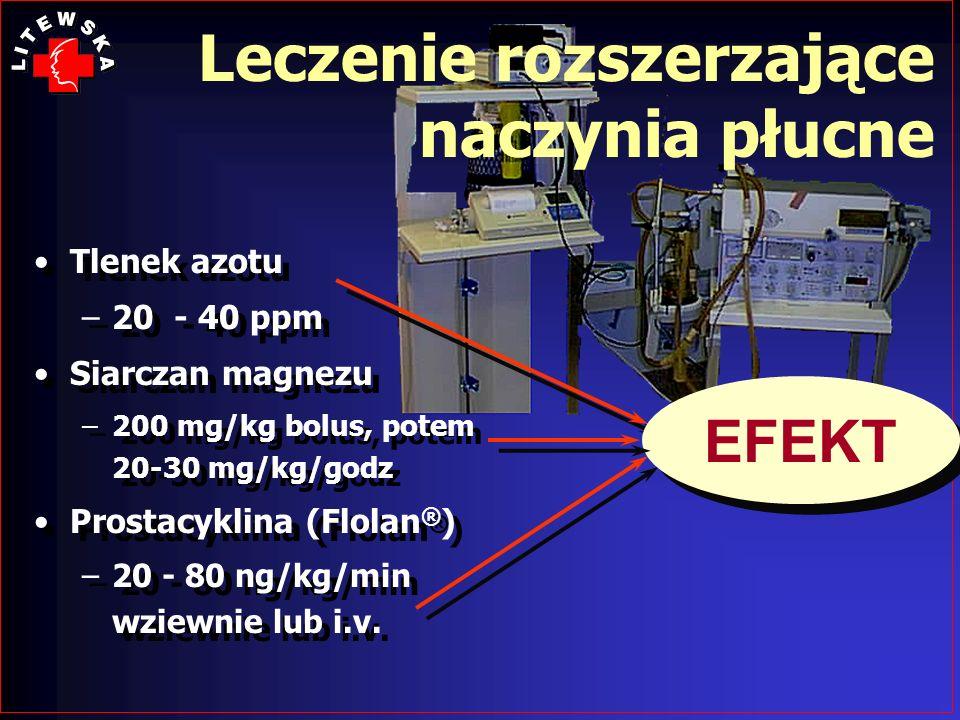 Tlenek azotu –20 - 40 ppm Siarczan magnezu –200 mg/kg bolus, potem 20-30 mg/kg/godz Prostacyklina (Flolan ® ) –20 - 80 ng/kg/min wziewnie lub i.v. Tle