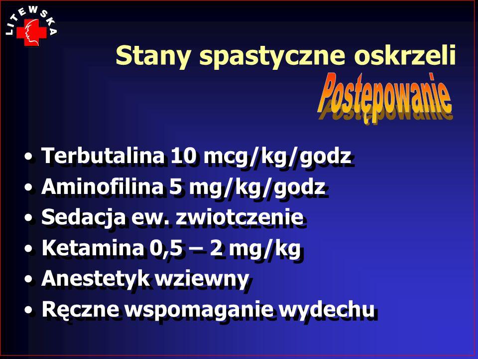 Terbutalina 10 mcg/kg/godz Aminofilina 5 mg/kg/godz Sedacja ew. zwiotczenie Ketamina 0,5 – 2 mg/kg Anestetyk wziewny Ręczne wspomaganie wydechu Terbut