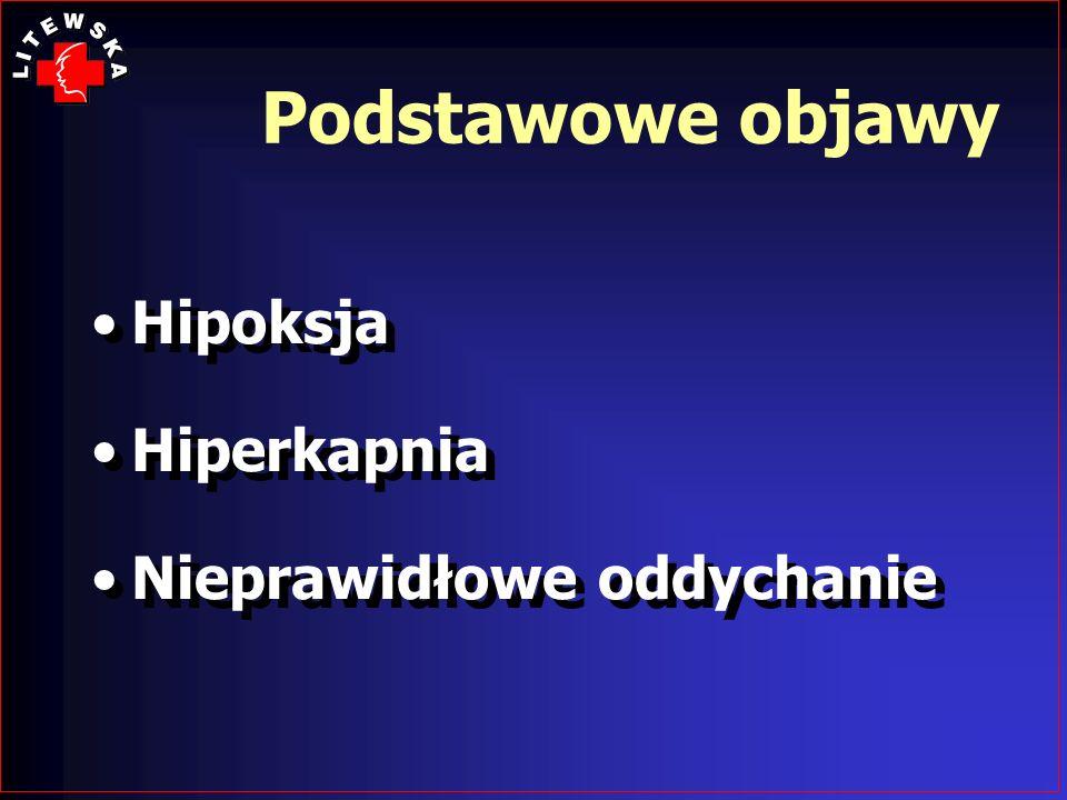 Podstawowe objawy Hipoksja Hiperkapnia Nieprawidłowe oddychanie Hipoksja Hiperkapnia Nieprawidłowe oddychanie