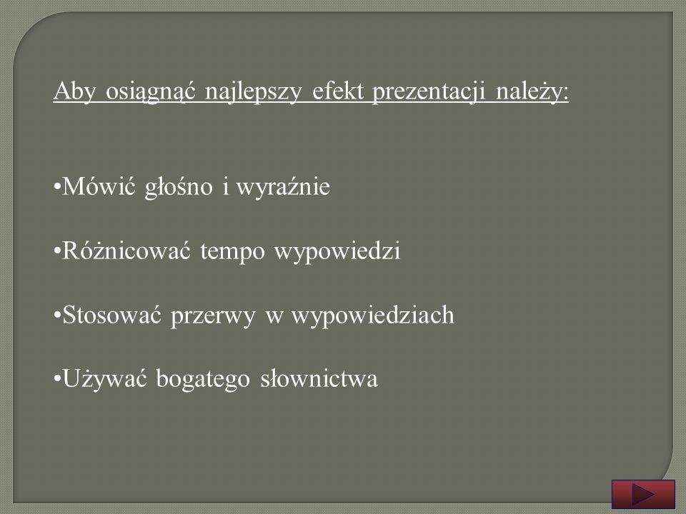 Znajomość tematu i przygotowana treść wystąpienia Cztery kryteria zrozumienia przekazywanych treści: 1.Prosta i krótka budowa zdań 2.Właściwa kolejnoś
