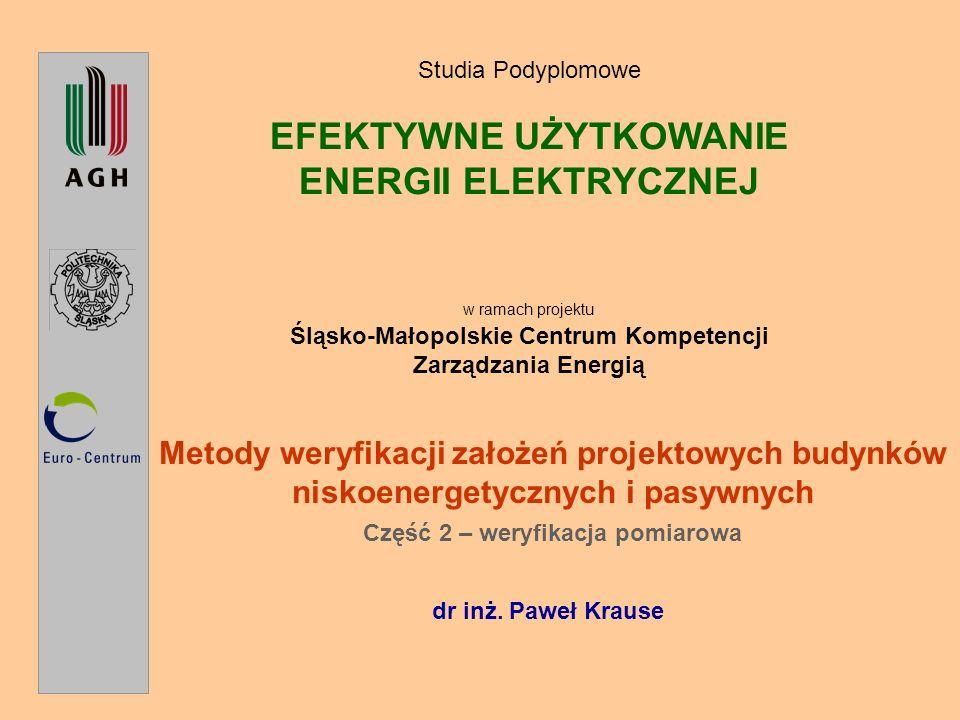 Metody weryfikacji założeń projektowych budynków niskoenergetycznych i pasywnych Dr inż.