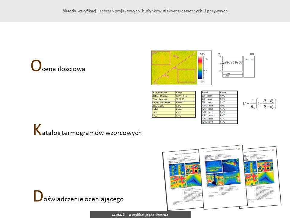 O cena ilościowa K atalog termogramów wzorcowych D oświadczenie oceniającego część 2 – weryfikacja pomiarowa Metody weryfikacji założeń projektowych b