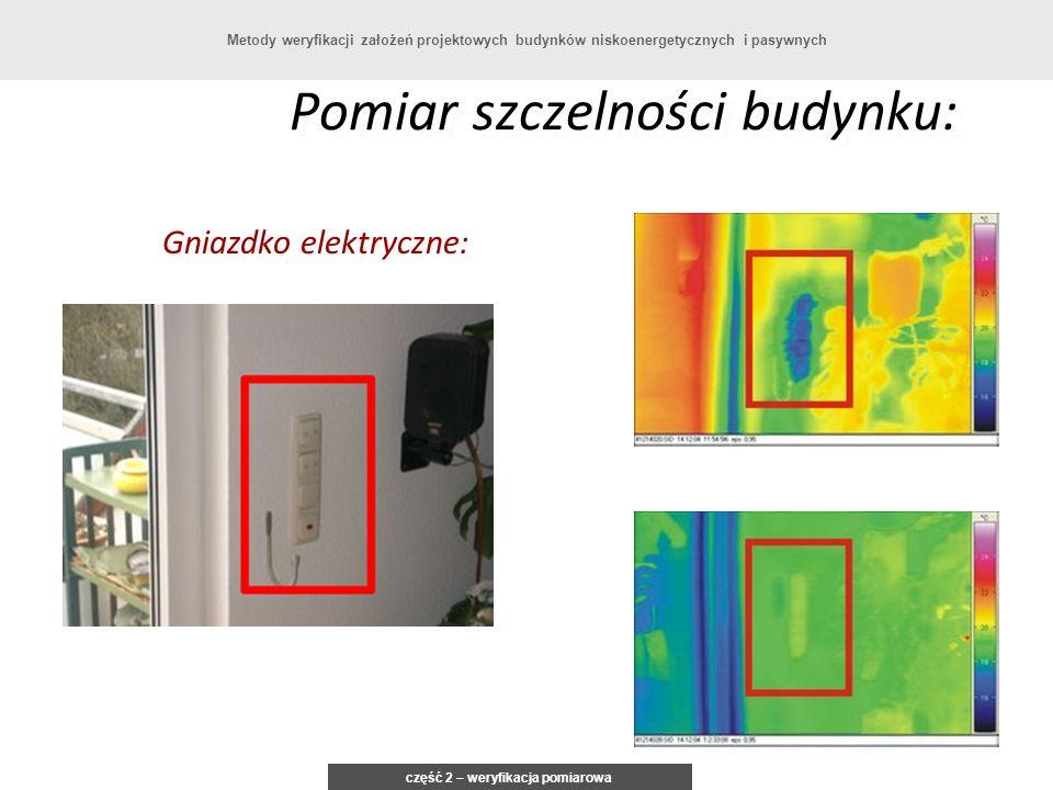 Pomiar szczelności budynku: Gniazdko elektryczne: część 2 – weryfikacja pomiarowa Metody weryfikacji założeń projektowych budynków niskoenergetycznych