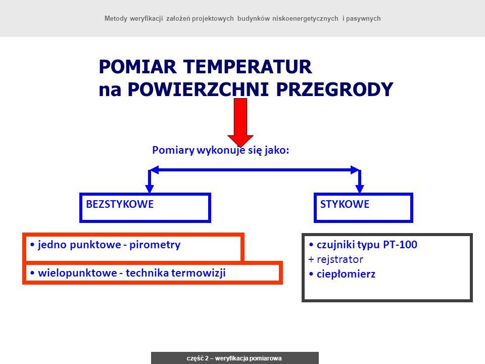 POMIAR TEMPERATUR na POWIERZCHNI PRZEGRODY Pomiary wykonuje się jako: wielopunktowe - technika termowizji jedno punktowe - pirometry STYKOWEBEZSTYKOWE