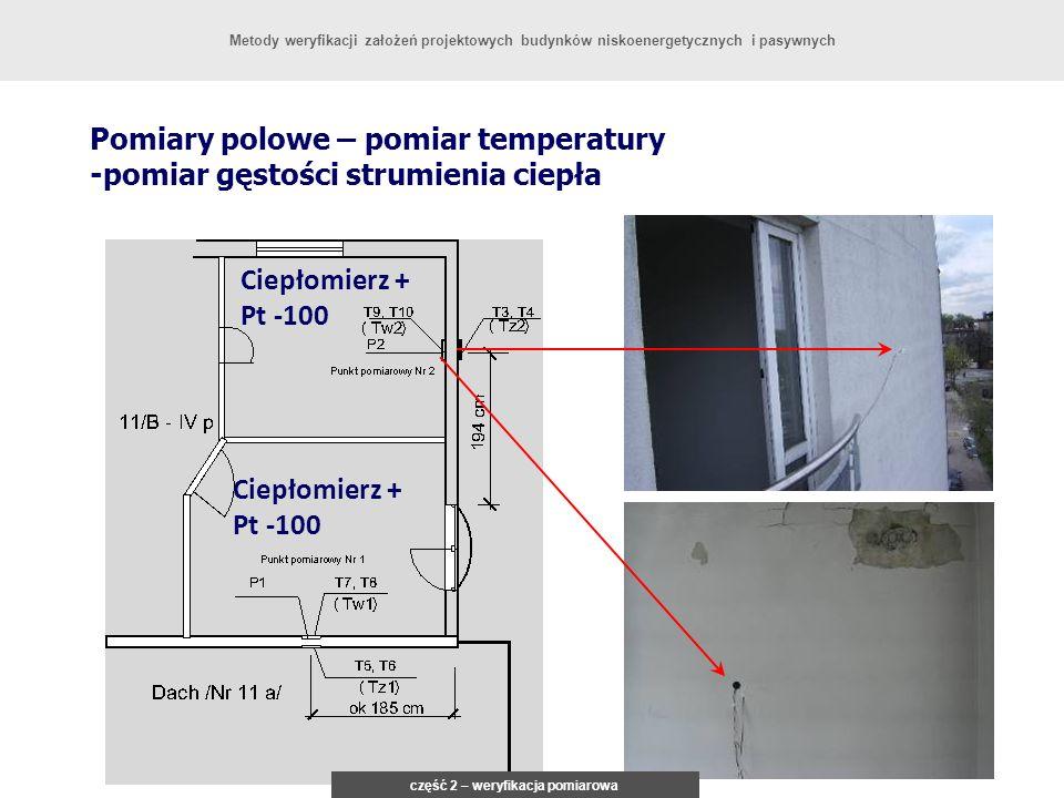 Pomiary polowe – pomiar temperatury -pomiar gęstości strumienia ciepła Ciepłomierz + Pt -100 część 2 – weryfikacja pomiarowa Metody weryfikacji założeń projektowych budynków niskoenergetycznych i pasywnych