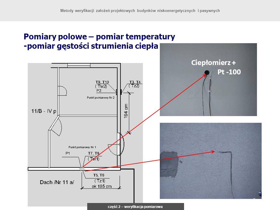 Pomiary polowe – pomiar temperatury -pomiar gęstości strumienia ciepła Urządzenie sterujące z rejstratorem część 2 – weryfikacja pomiarowa Metody weryfikacji założeń projektowych budynków niskoenergetycznych i pasywnych