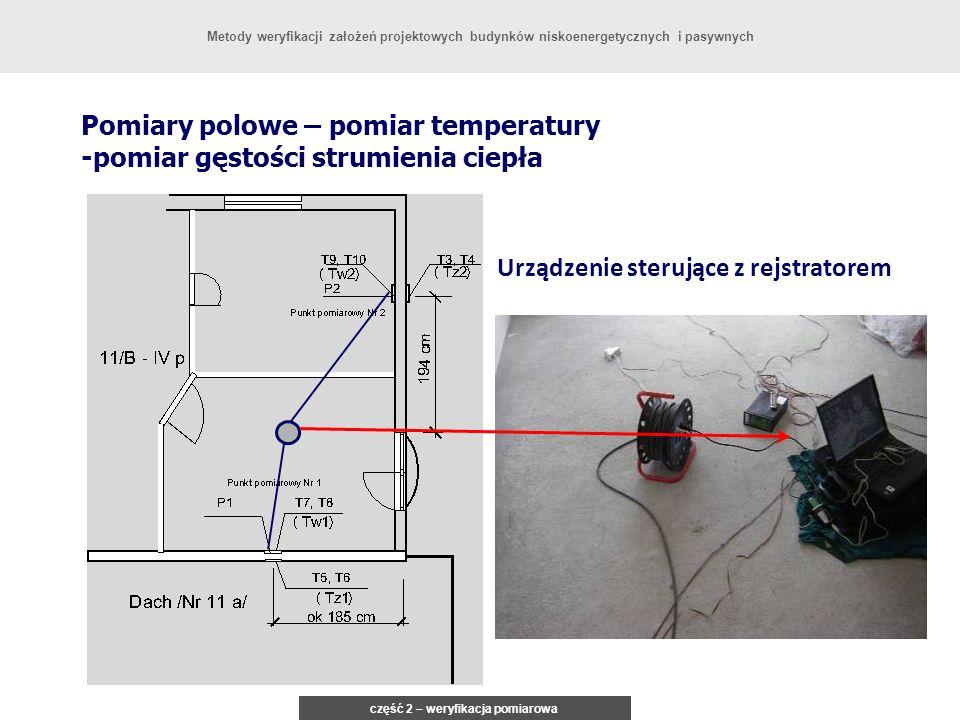 Pomiary polowe – pomiar temperatury -pomiar gęstości strumienia ciepła Urządzenie sterujące z rejstratorem część 2 – weryfikacja pomiarowa Metody wery