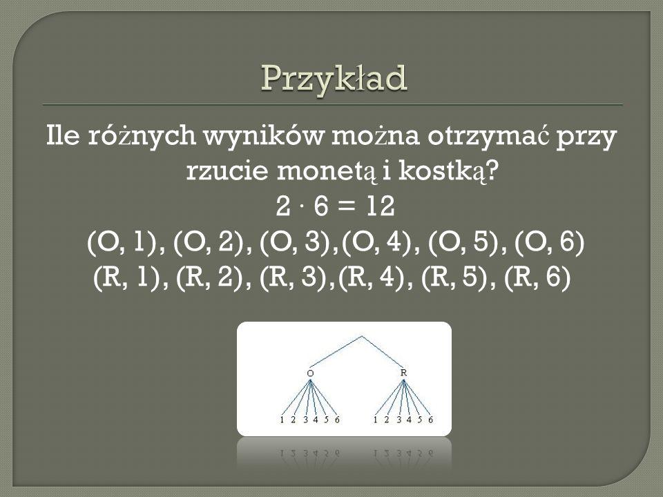 Ile ró ż nych wyników mo ż na otrzyma ć przy rzucie monet ą i kostk ą ? 2 · 6 = 12 (O, 1), (O, 2), (O, 3),(O, 4), (O, 5), (O, 6) (R, 1), (R, 2), (R, 3