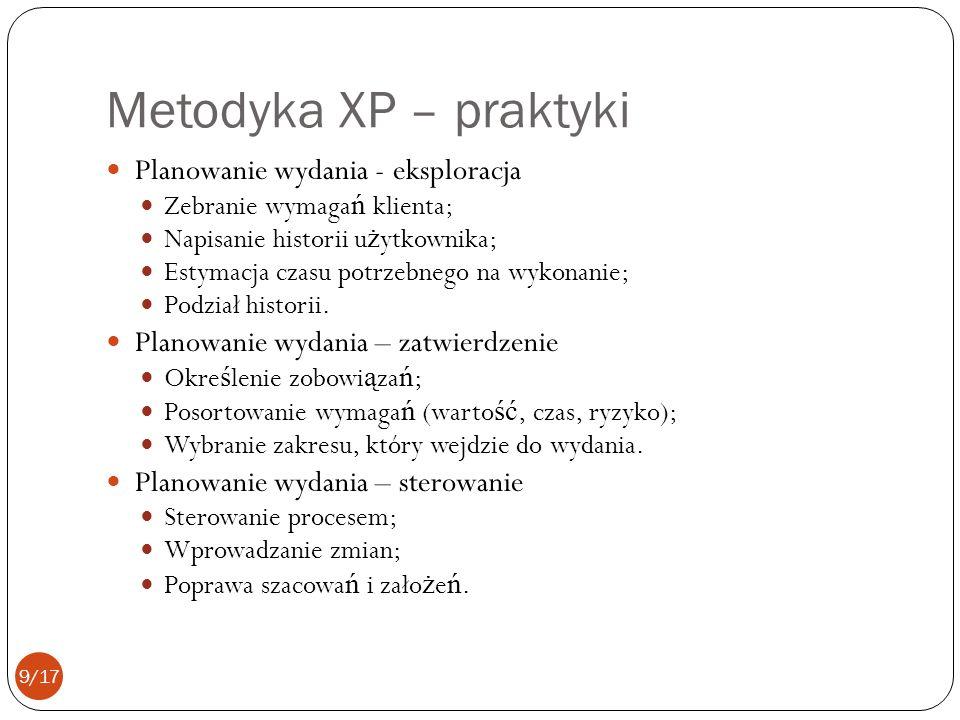 Metodyka XP – praktyki Planowanie wydania - eksploracja Zebranie wymaga ń klienta; Napisanie historii u ż ytkownika; Estymacja czasu potrzebnego na wykonanie; Podział historii.