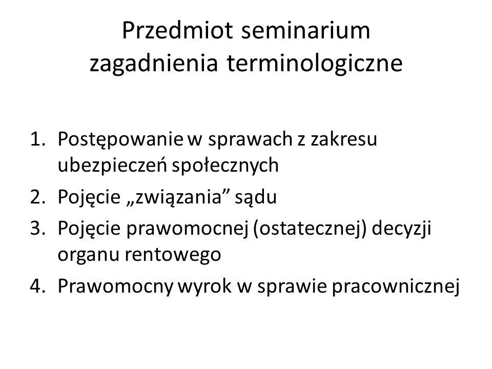 Przedmiot seminarium zagadnienia terminologiczne 1.Postępowanie w sprawach z zakresu ubezpieczeń społecznych 2.Pojęcie związania sądu 3.Pojęcie prawom