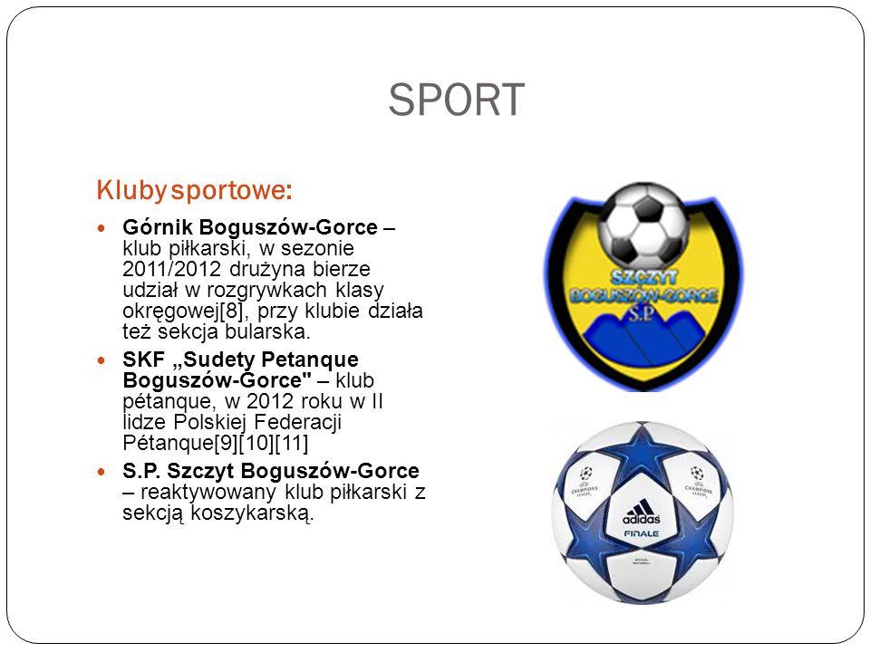SPORT Kluby sportowe: Górnik Boguszów-Gorce – klub piłkarski, w sezonie 2011/2012 drużyna bierze udział w rozgrywkach klasy okręgowej[8], przy klubie