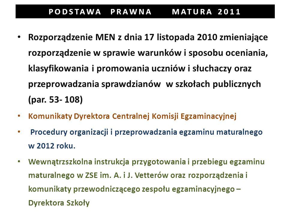 PODSTAWA PRAWNA MATURA 2011 Rozporządzenie MEN z dnia 17 listopada 2010 zmieniające rozporządzenie w sprawie warunków i sposobu oceniania, klasyfikowania i promowania uczniów i słuchaczy oraz przeprowadzania sprawdzianów w szkołach publicznych (par.