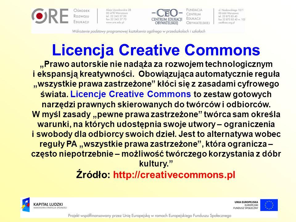 Licencja Creative Commons Prawo autorskie nie nadąża za rozwojem technologicznym i ekspansją kreatywności. Obowiązująca automatycznie reguła wszystkie