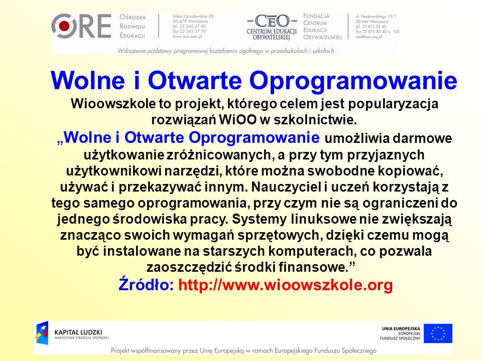 Wolne i Otwarte Oprogramowanie Wioowszkole to projekt, którego celem jest popularyzacja rozwiązań WiOO w szkolnictwie. Wolne i Otwarte Oprogramowanie